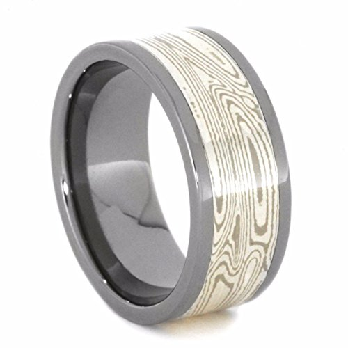 10k White Gold, Palladium, Argentium Sterling Silver Mokume Gane 8.5mm Comfort-Fit Titanium Wedding Band, Size 7.75 by The Men's Jewelry Store (Unisex Jewelry)