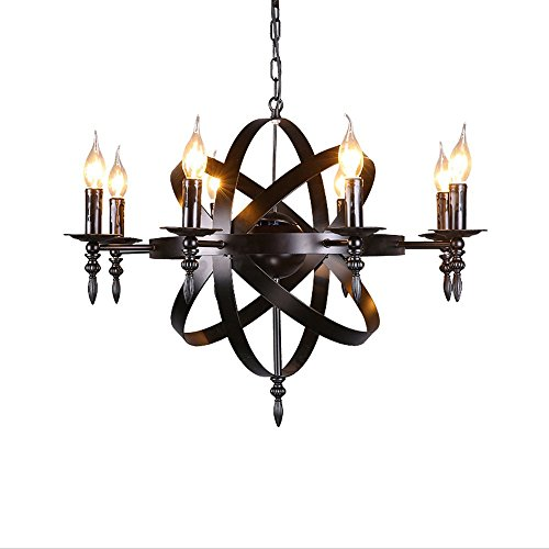 Castle Style Wrought Iron Chandelier Medieval Pendant Round Candle Chandelier Light Black Large Size Suitable for Living Room Corridor or Country House Chandelier