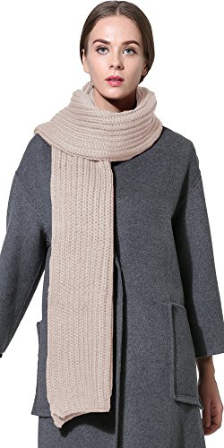 Scarf Cable Long Knit (Women Men Winter Thick Cable Knit Wrap Chunky Warm Scarf All Colors Khaki Hor)