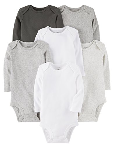 Carter's Baby 7-Pack Long-Sleeve Bodysuits, Multi/Grey, 6 Months