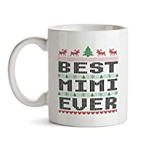 BeauMUG Best Mimi Ever Coffee Mug Funny Ugly Christmas Sweater Design Ceramic Tea Cup Grandma Xmas Themed Theme Gift for Grandmother Women Her
