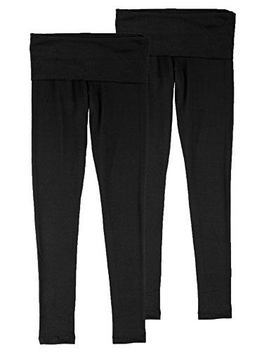 UPC 783942100143, Kalon Juniors Fold Over Leggings Lightweight (Small, 2PK:Black)