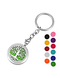 HOUSWEETY Tree of Life Essential Oil Locket Keychain Keyring with 11 Refill Pads