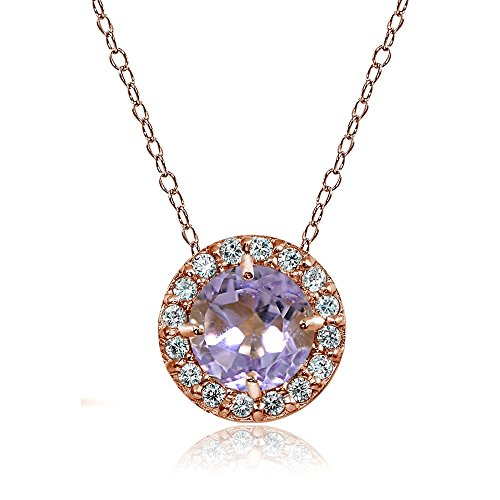 Ice Gems Rose Gold Flashed Sterling Silver Amethyst and Cubic Zirconia Accents Round Halo Necklace