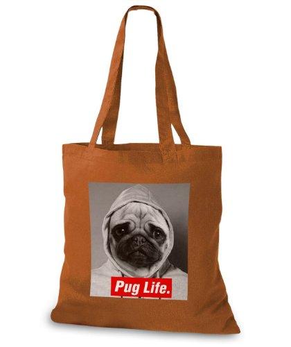 StyloBags Jutebeutel / Tasche Pug Life v3 Choco