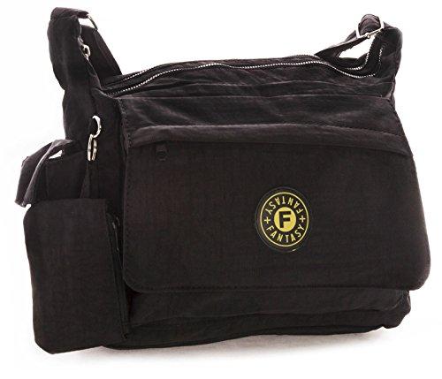 BHBS Damen Leichten Stoff Mittlere Größe Kreuz Körper Schulter Tasche 38 x 29 x 4 cm (B x H x T) Schwarz