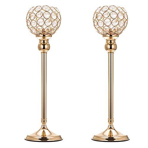 ManChDa Valentines Gift Gold Crystal Spherical Candle Holders Sets of 2 Wedding Table Centerpieces for Birthday Anniversary Celebration Modern Decoration (Large, 15.8