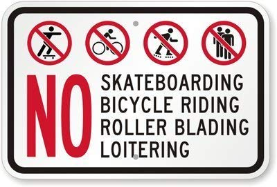 LilithCroft99 No Skateboarding, Bicycles, Roller Skates, Loitering, Sign Aluminum Metal Wanring Signs for Property Hazard Home Hence Yard Sign for Home Gate Decor ()