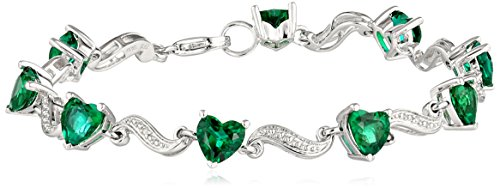 Sterling Silver Created Emerald and Diamond Accent Heart Wave Bracelet