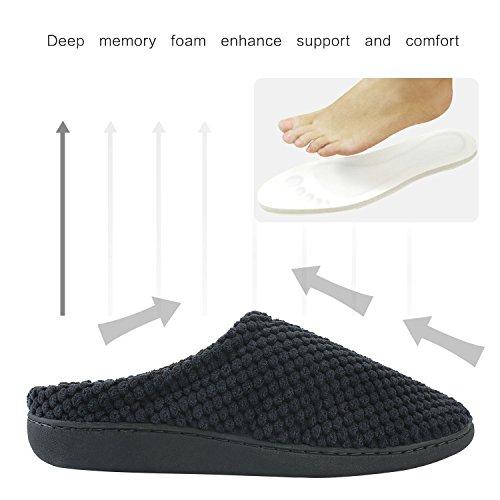 Sibba Mens / Womens Cozy Fleece Slip-on Memory Foam Pantofole Casa Indoor (nero / Grigio / Marrone) Velluto - Nero