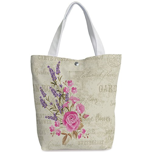 Fun Canvas Tote Bag,Lavender,Postal Stamps and Postmarks Grungy Backdrop Romantic Bridal Corsage,Light Pink Lavender Tan,Canvas Shopping bag,shoulder handbags,Shoulder Bag (Corsage Shoulder)