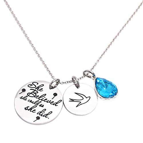 Girl Jewelry She Believed She Could So She Did Necklace Birthstone (March Birthstone)