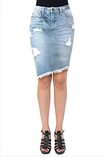 HyBrid & Company Womens Pull On Stretch Denim Skirt SK40713 Lightwash 7 (Stretch Skirt Denim Bleach)