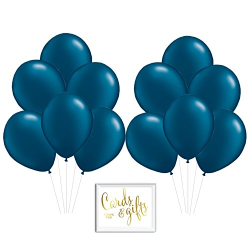 Andaz Press Bulk High Quality Latex Balloon Party Kit with Gold Cards & Gifts Sign, Navy Blue 11-inch Balloons, Wholesale 100-Pack ()