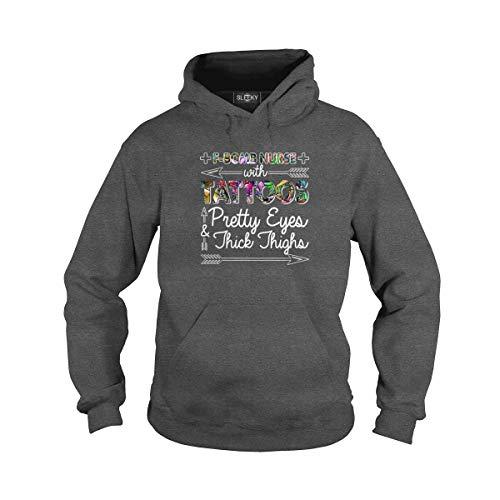 (Sleeky Unisex F-Bomb Nurse Tattoos Adult Hooded Sweatshirt (3XL, Dark Heather))