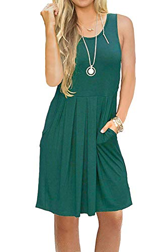 AUSELILY Sleeveless Loose Swing Dress with Pockets