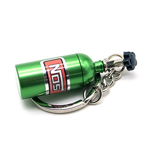 Waterwood Creative Auto Parts Models Mini Nitrous Oxide Bottle Keychain Key Chain Ring-Green