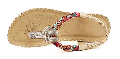 CAMSSOO PU soft Strap Women's Soft Folk Elastic Flat pu Sandals T Style beige Bohemia rRrKBayv