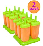 Tovolo Groovy Ice Pop Molds, Spring Green set of 6, 2-pack