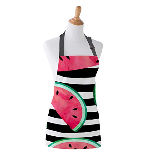 - SODIKA Kitchen Apron for Women and Men,Watermelon Wallpaper Canvas Bib Apron with Adjustable Neck for Home Shop Cooking15''x20''