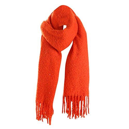 Ribbed Cashmere Scarf (Kimloog Women Oversize Soft Cashmere Feel Pashmina Shawls Wraps Lightweight Winter Warm Scarf (Orange))