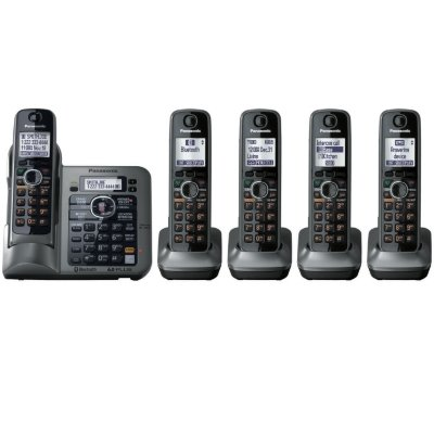 Panasonic KX-TG155SK DECT 6.0 Link-to-Cell via Bluetooth Cordless Phone with Answering System, Metallic Gray, 5 (Cordless Telephone Alarm Clock)