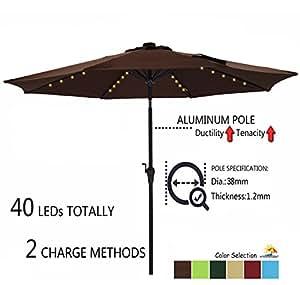Paraguas de Aluminio para Patio con Botón de Inclinación y manivela, 250 g/m², 8 Varillas de Acero