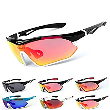 Polarized Sports Sunglasses Bicycle Glasses Goggles UV Protection Mens and Womens Outdoor Running Driving Bicycle Cycling Fishing Ski Interchangeable Lenses