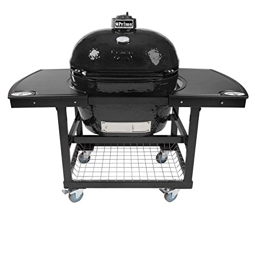 Primo Oval XL 400 Ceramic Smoker Grill On Cart with 2-Piece Jack Daniel's Island Top by Primo