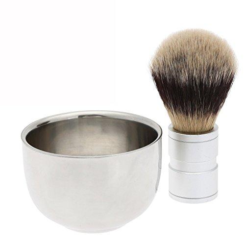 Dophee 2Pc/Set Men's Shaving Tool Badger Hair Brush + Stainless Steel Bowl Mug Cup Gift by dophee