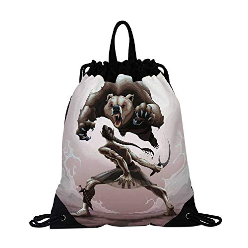 Bear Canvas Drawstring Bag,Mythological Battle Scene Between an Elf and Angry Bear Fantasy Fairytale Decorative for Shopping Travel,One_Size -