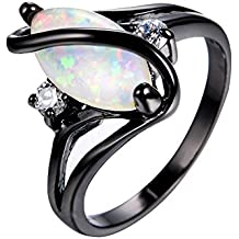 Bamos Jewelry Big Opal Women Rings Wedding Engagement White Opal Black Gold Party Rings For Her