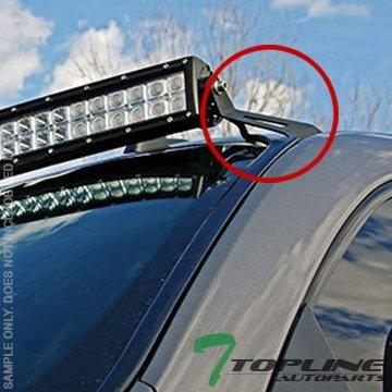 Topline Autopart Textured Roof Pillar Light Lamp Bar Mount Brackets Kit For 50