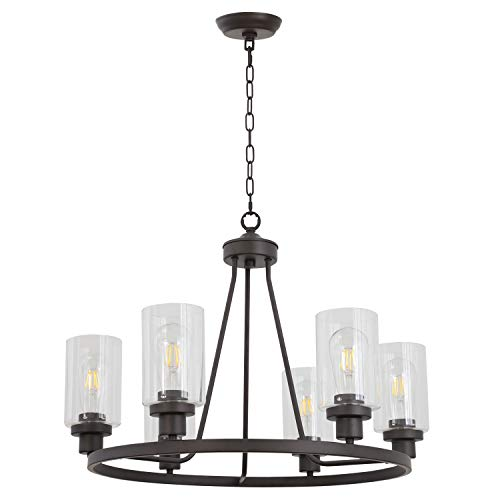 MELUCEE 6-Light Glass Chandelier Farmhouse Lighting, Kitchen Island Lighting Dining Room Light Fixtures Hanging Glass Pendant Light Oil Rubbed Bronze Finished UL Listed ()