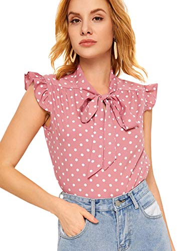 Romwe Women's Casual Ruffle Short Sleeve Elegant Loose Blouse Top Shirts Pink XL