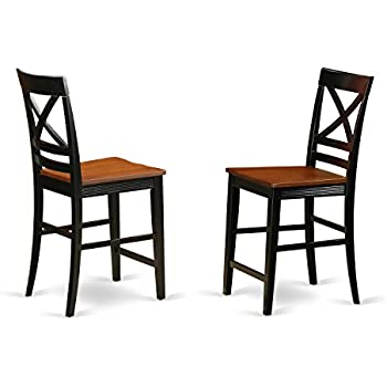 QUS-BLK-W Quincy Counter Height Stools With X-Back in Black & Cherry -Set of 2