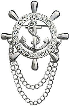 ブローチ 襟ピン ラペルピン 舵型 ラインストーン 装飾 チェーンタッセル付き