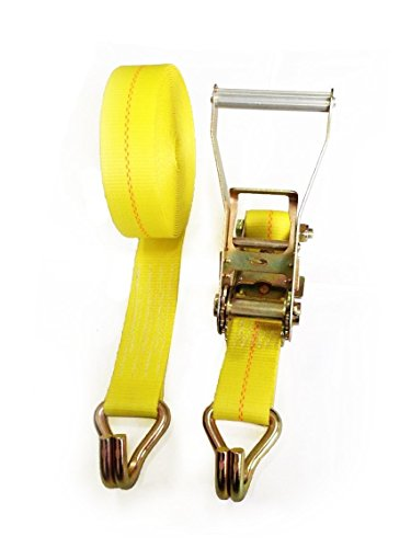 vy Duty Ratchet Tie-down Strap with Double J Hooks,10,000 lb Breaking strength (27' Ratchet Tie Down)