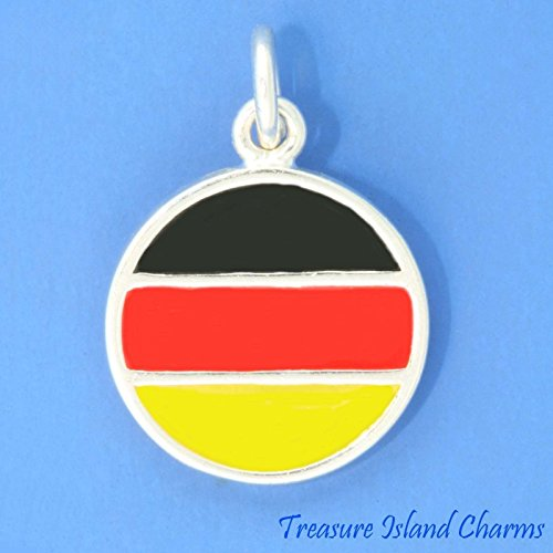 L FLAG .925 Solid Sterling Silver Round Charm or Pendant Jewelry Making Supply Pendant Bracelet DIY Crafting by Wholesale Charms ()