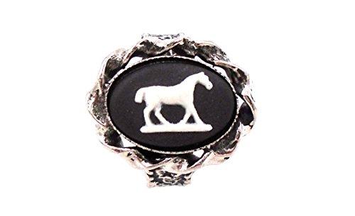 Jasperware Ring - Wedgwood: Silver Toned Black Jasperware Ring