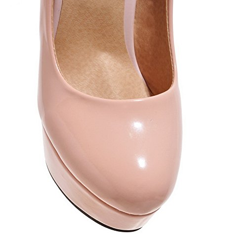 BalaMasa Womens Solid Slip-On High-Heels Rubber Pumps-Shoes Pink yx3IPcM