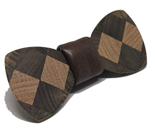 Solid Multi Wood Bow Tie In a Diamond/Argile Pattern (Brown Leather)