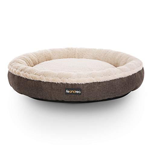 FEANDREA Hundebett, Hundekorb, Katzenbett, Donut, rund, Ø 65 cm, grau PGW65C