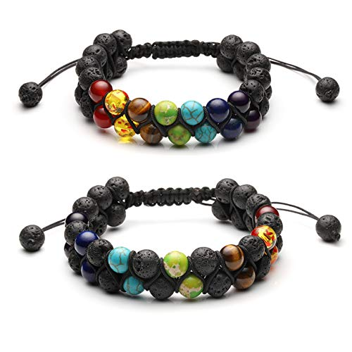 Jovivi Couple Bracelet - Bead Chakra Bracelet Natural Lava Rock Stones Bracelets, Men Stress Relief Yoga Beaded Aromatherapy Essential Oil Diffuser Bracelets 7 Chakras Anxiety Bracelet for Women (Healing 7 Chakras Volcanic Stone Energy Bracelet)
