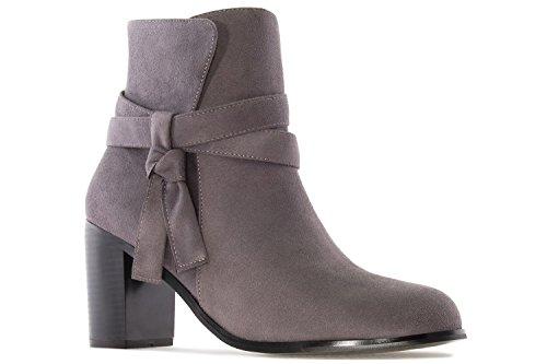 Andres Machado Damen Stiefelette - Grau Schuhe in Übergrößen