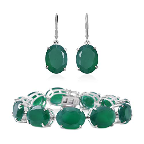 Silver Earrings Bracelet Set 925 Sterling Silver Oval Green Onyx Gift Jewelry for Women Size 7.5