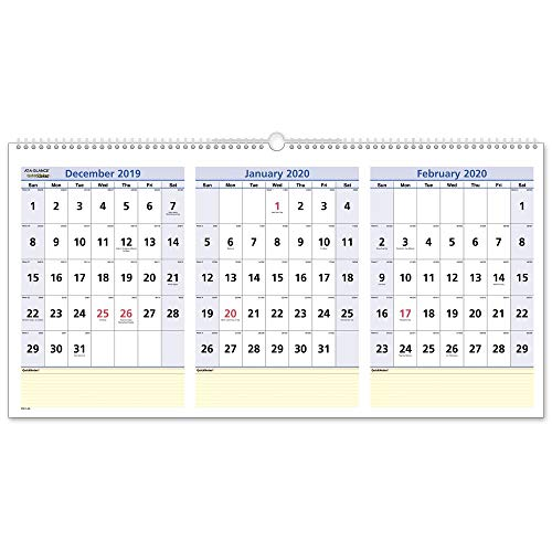 - AT-A-GLANCE 2020 Wall Calendar, 3-Month Display, QuickNotes, 23-1/2