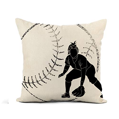 Awowee Flax Throw Pillow Cover Girl Softball Silhouette of Fielder Bat Female Athlete Batting 20x20 Inches Pillowcase Home Decor Square Cotton Linen Pillow Case Cushion Cover
