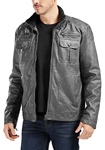 Trimthread Winter Thick Quilted Lining Full-Zip Distressed Moto Faux Leather Jacket (X-Large, Dark Grey)