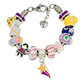 Timeline Treasures European Charm Bracelet with Charms for Girls, Stainless Steel Snake Chain, Nursery Rhyme, Purple 7 Inch (18cm)
